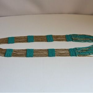 Jewelry - Boho Chic Turquoise Metallic Gold Glass Necklace